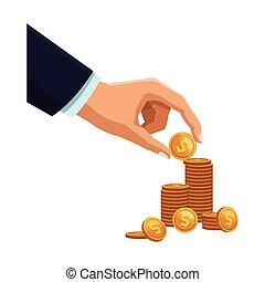 biznesmen, monety, ręka