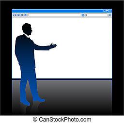 biznesmen, na tle, z, sieć browser, czysta kartka