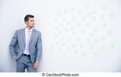 biznesmen, nachylenie dalejże, ściana