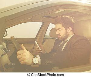 biznesmen, napędowy, wóz