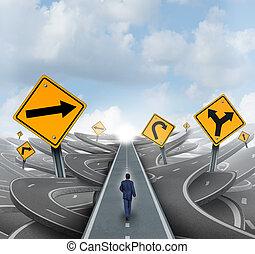biznesmen, naprzód, ścieżka