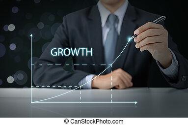 biznesmen, niniejszy, podwyższając, wykres, handlowy wzrost