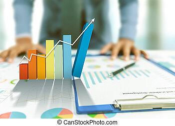 biznesmen, niniejszy, powstanie, wykres, handlowy wzrost, pojęcie