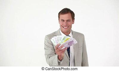 biznesmen, notatki, odliczający, bank