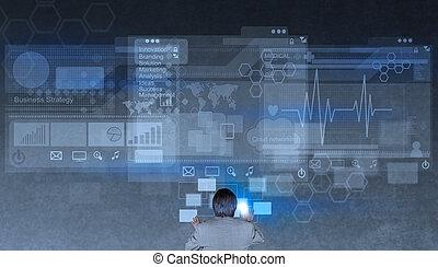 biznesmen, nowoczesna technologia, pracujący