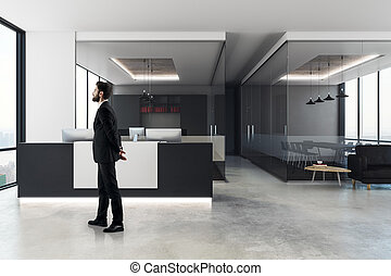 biznesmen, nowoczesny, biuro