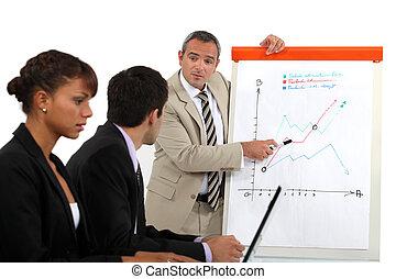 biznesmen, objaśniając, niejaki, lina wykres