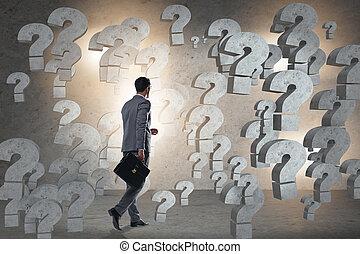 biznesmen, okładzina, pytania, w, handlowy
