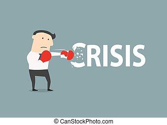 biznesmen, okiełznuje, kryzys