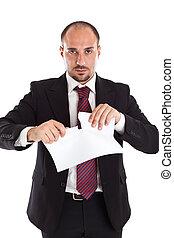 biznesmen, płakanie, papier
