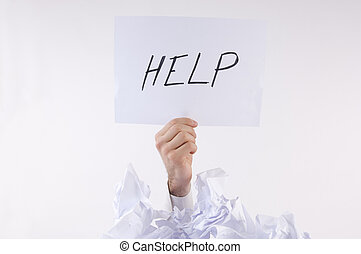 biznesmen, papier, przygniatany, zapytania, pomoc