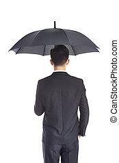 biznesmen, parasol, asian, dzierżawa