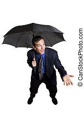 biznesmen, parasol
