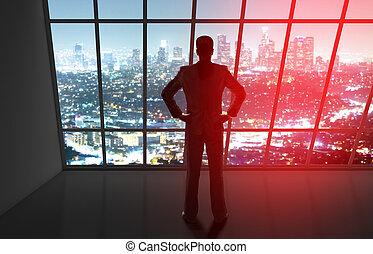 biznesmen, patrząc, do, noc, miasto