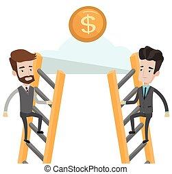 biznesmen, pieniądze., dwa, ubiegając