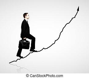biznesmen, pieszy, wykres