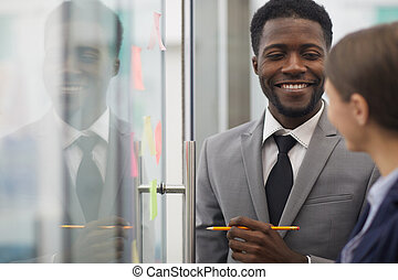 biznesmen, planowanie, startup, afrykanin