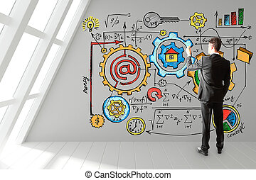 biznesmen, pociąga, niejaki, startup, plan, na, ściana