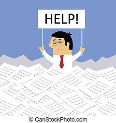 biznesmen, pod, papiery