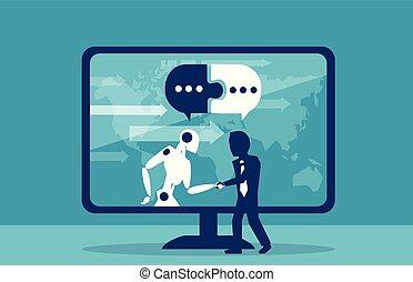 biznesmen, pojęcie, robot, ludzki, kooperacja