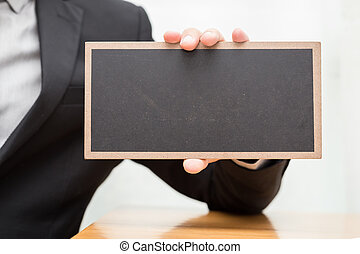 biznesmen, pokaz, czarnoskóry, deska, ręka