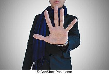 biznesmen, pokaz, dłoń, ręka