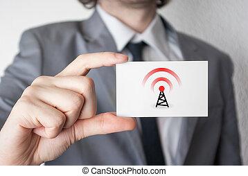 biznesmen, pokaz, handlowa karta, wireless.