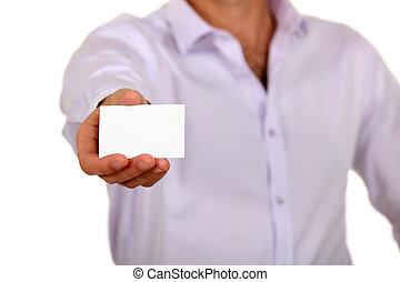 biznesmen, pokaz, handlowa karta