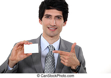 biznesmen, pokaz, jego, card.