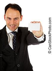 biznesmen, pokaz, karta, czysty