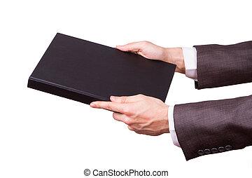 biznesmen, pokaz, książka nakrywają, ręka
