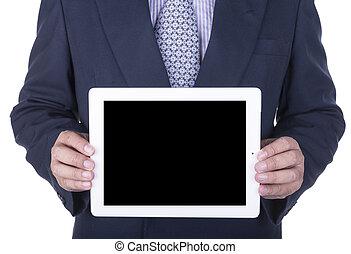 biznesmen, pokaz, laptop, ekran