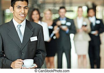 biznesmen, posiadanie, złamanie, indianin, kawa