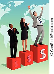 biznesmen, powodzenie, zwycięski, albo, pojęcie