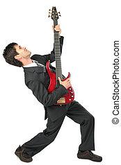 biznesmen, pozy, gitarzysta, garnitur