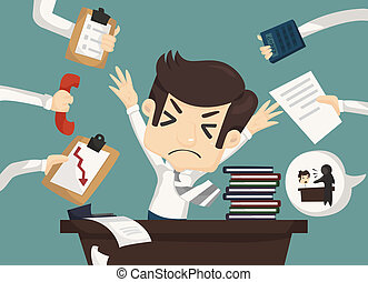 biznesmen, praca, twardy, zajęty