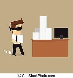 biznesmen, praca, związał oczy