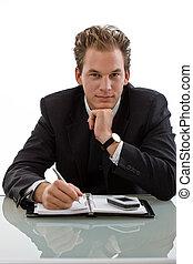 biznesmen, pracujący, biurko