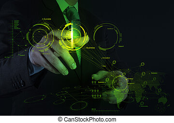 biznesmen, pracujący dalejże, nowoczesna technologia