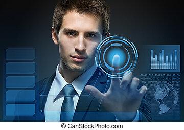 biznesmen, pracujący, z, nowoczesny, faktyczny, technologia