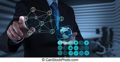 biznesmen, pracujący, z, nowy, nowoczesny, komputer, pokaz, towarzyski, sieć, budowa
