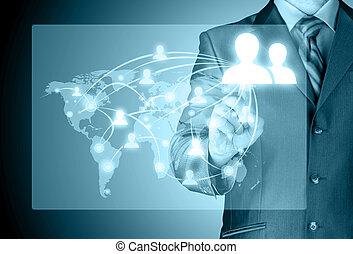 biznesmen, pracujący, z, nowy, nowoczesny, komputer, pokaz
