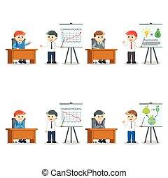 biznesmen, prezentacja, komplet, ilustracja, projektować