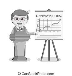 biznesmen, prezentacja, towarzystwo, postęp, czarnoskóry i biały, styl