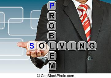 biznesmen, problem rozwiązujący, rysunek, ręka