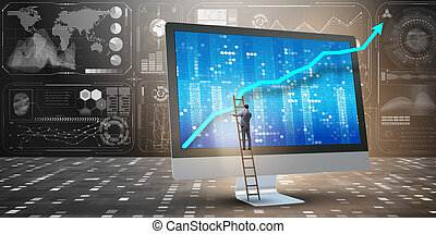 biznesmen, prognozowanie, pojęcie, ekonomiczny, wykresy