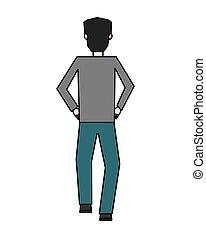 biznesmen, prospekt, litera, wstecz, avatar