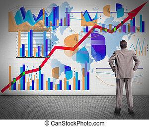 biznesmen, przeglądnięcie, graphs.