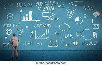 biznesmen, przeglądnięcie, innowacja, plan.