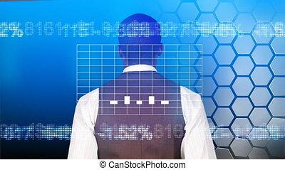 biznesmen, przeglądnięcie, niejaki, wykres